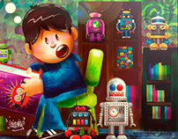 The kid and the robots toys