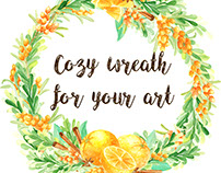 Watercolor spycy orange and sea buckthorn wreath