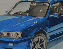 Watercolor Skyline GT-R R34