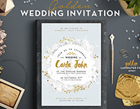 Floral Golden Foil Wedding Invitation
