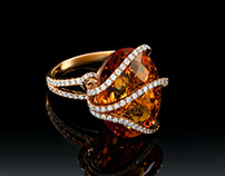Fantastic ring with Fire Opal and Diamonds