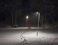 Red chair in the Norwegian snow