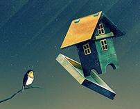 Flying Bird...house | Digital Art