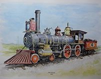Steam engine, puffer , Watercolour and black ink