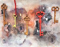 """""""Ключи от тайн"""", аппликация, акварель"""
