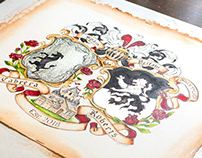 Conjugal Coat of Arms with White Gold