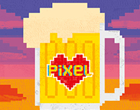 Pixel Love Art Birthday Beer Card
