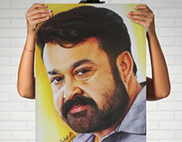 Actor Mohanlal - Realistic Colored Pencil Drawing