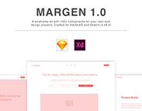 Margen Wireframe Kit for Sketch and AdobeXD