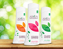 Creative Label Design of Adven Naturals Shampoos