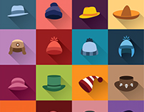 Set of color hats
