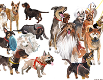 dogs watercolor series