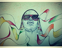 Illustration portrait Stevie wonder : soul in my eyes