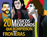 Mexican musicians illustrations for RollingStone