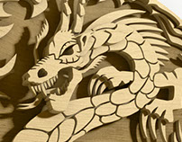 Japanese Dragon plywood sculpt.