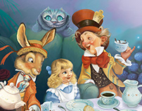 Alice in Wonderland. Ilustración digital.