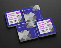 Square business cards mock-up rounded corner