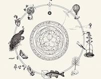 L'umana condizione: allegorie, piante e pesci.