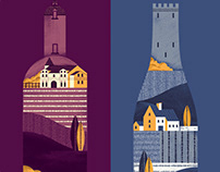 Bordeaux & Burgundy map - illustrations elements
