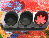 Colored leaves traffic light