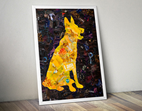 "collage German Shepherd, series ""Forgotten silhouettes"""