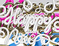 3D Typograhy Happy New Year 2017