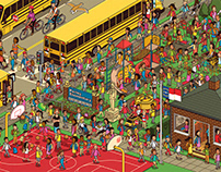 Where's Wally style crowd puzzle illustration for TBB