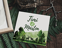 Timi&Márton watercolor wedding stationery design