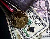 Dollar bills, a bitcoin, and a memory card