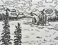 Mountain Scenery Sketch