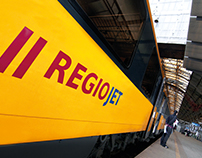 REGIOJET passenger railway and bus company branding