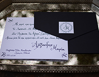 Custom hand lettering for a classic wed invitation.