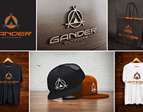 "Branding concepts for ""Gander Outdoors."""