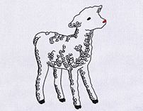 CHARMING KID GOAT EMBROIDERY DESIGN