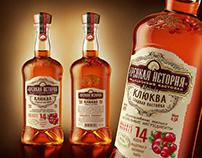 "Liquor ""Крепкая История"". Label and bottle design."