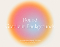 Round Circle Gradient Backgrounds With Grain Texture PS
