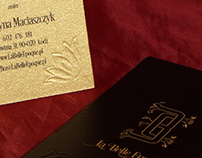 Business cards with stamping on gold paper