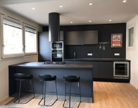 Interior design with a total black kitchen