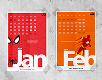Superhero themed funky calendar design for fun