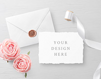 FREE PSD WEDDING INVITATION CARD & ENVELOPE MOCKUPS