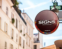 Round Store Signboard PSD Mockup