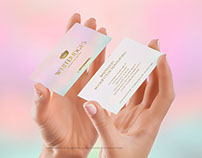 Female hands with 2 vertical business cards mockup PSD