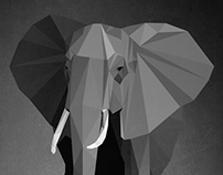 low poly elephant poster