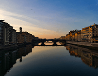 Sunset over a bridge in Florence