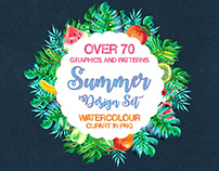 Summer Design Set Template in PNG & AI