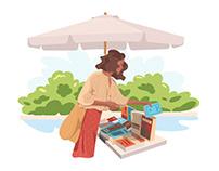 Buying books illustration