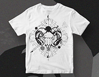 Skull with geometric shapes T-Shirt Design