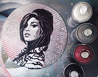 Amy Winehouse Stencil Art