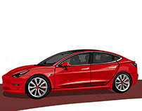 Tesla Model3 the curvature pen tool in Adobe Photoshop