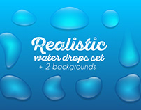 Realistic vector water drops set
